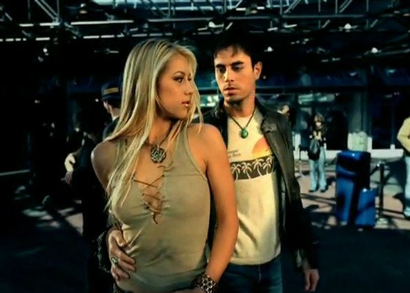 Enrique Iglesias and Anna Kournikova during the escape music video shoot
